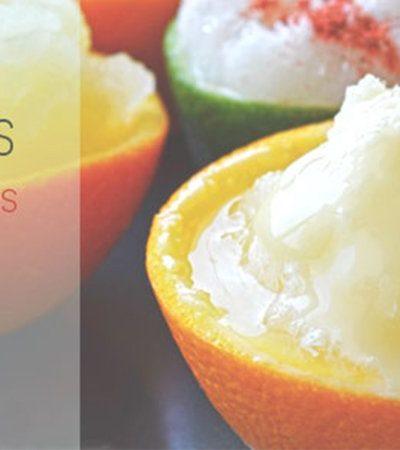 Raspados en cáscara de limón y naranja