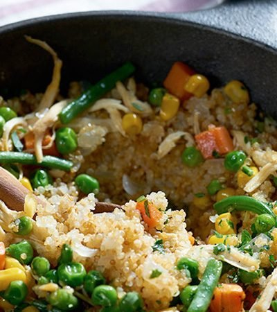 Receta de pollo con quinoa y vegetales