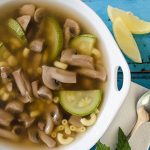 Sopa de Pasta con Hongos, Elote y Calabaza