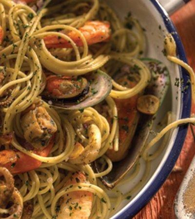 Spaghetti con frutos del mar