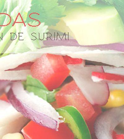 Tostadas de salpicón de surimi