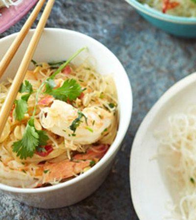 Vermicelli de arroz con camarones