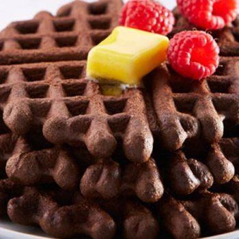 Waffles de chocolate y café