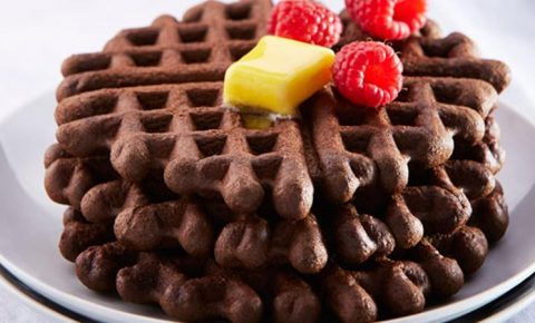 Waffles de chocolate y café