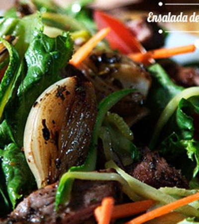 wrap o ensalada de tampiqueña y cebollas cambray a la plancha
