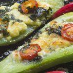 Chayotes con jamón de pavo y queso al horno