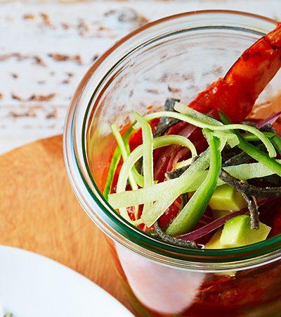 Aguachile con dos salsas