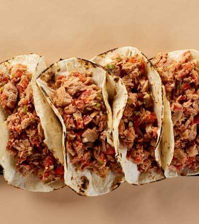 Tacos de machaca de atún