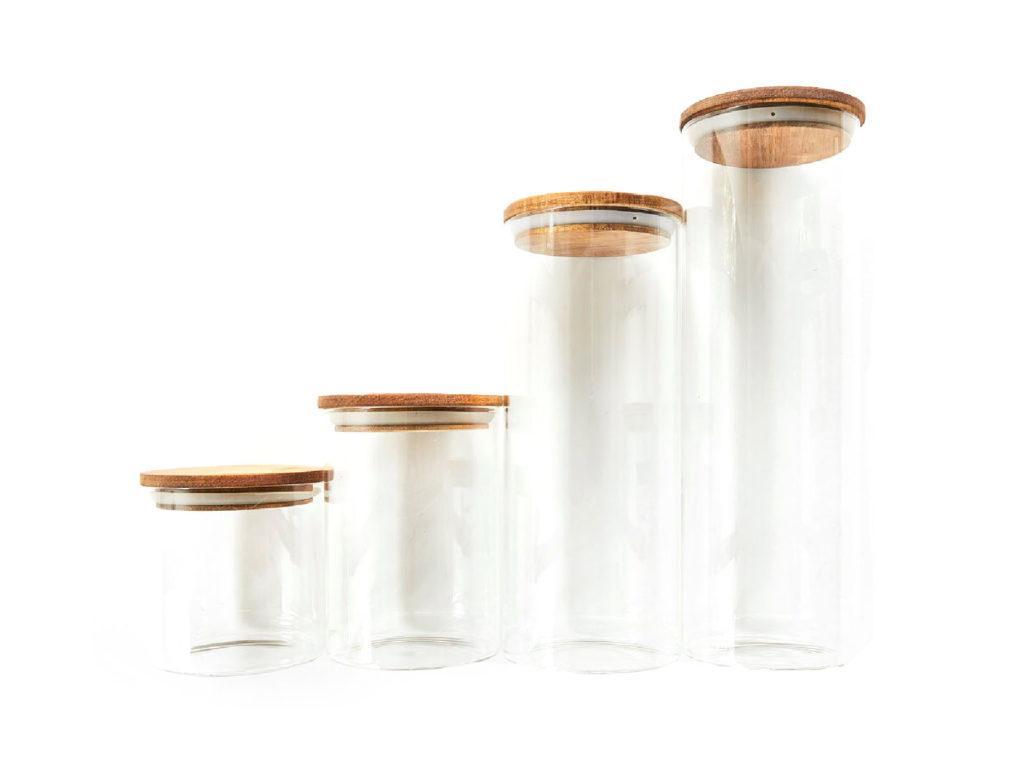 Set 4 Contenedores Al Natural, borosilicato con tapas de bamboo