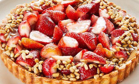 Tarta fría de Fresas con Semillas de Girasol